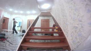 видео отделка металлического каркаса лестницы