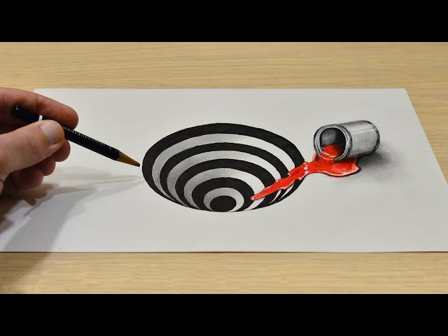 Простой 3D Рисунок Дыра Easy 3D  How to Draw a Round Hole on Paper