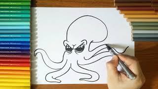 How to draw a Octopus step by step for Kids