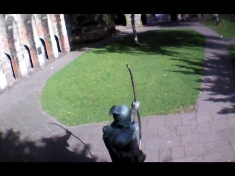 Parrott AR Drone 2.0 - Flying over and through the Robin Hood Statue, Nottingham Castle