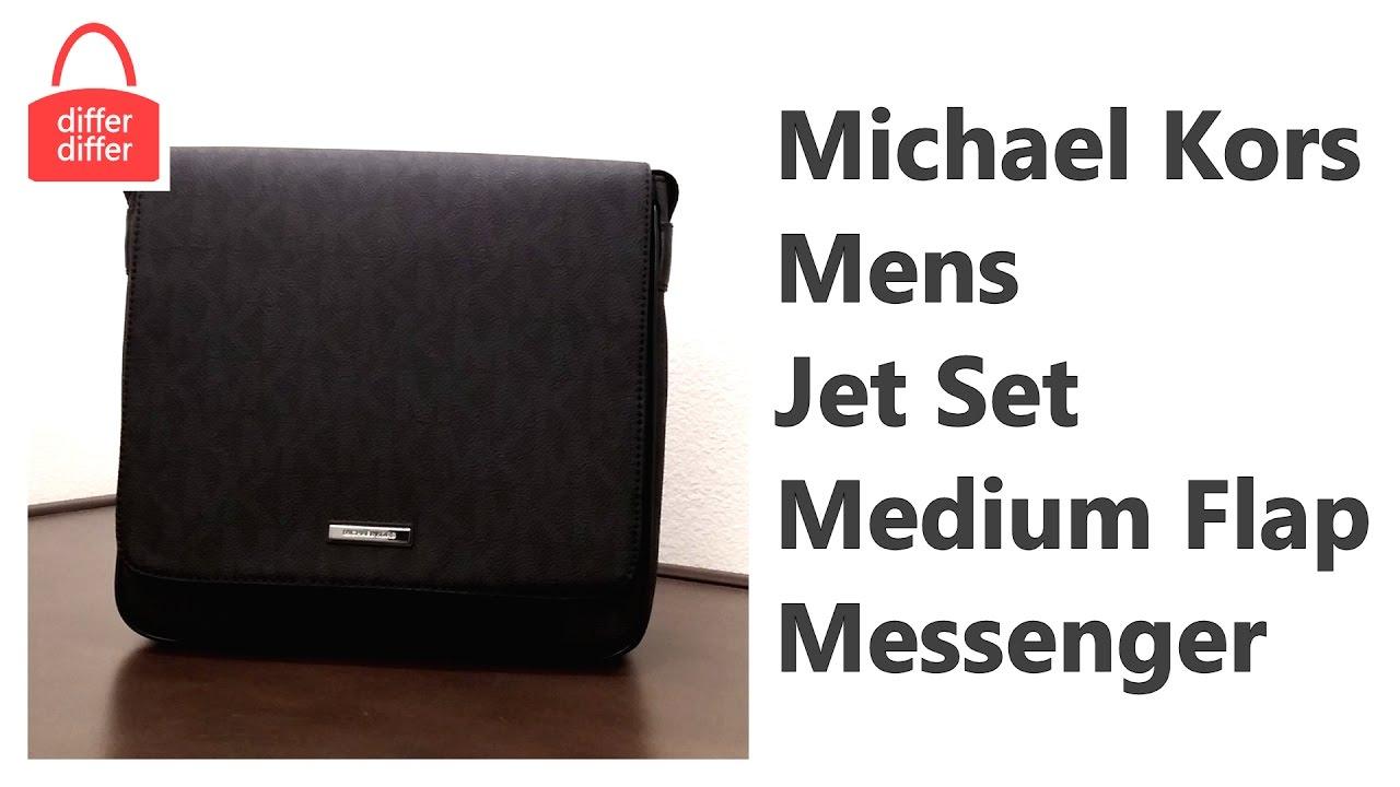 4c7f86ec2c4c Michael Kors Mens Jet Set Medium Flap Messenger 37H6LMNM2B - YouTube