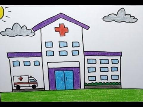 Cara Menggambar Dan Mewarnai Rumah Sakit Yang Mudah Youtube