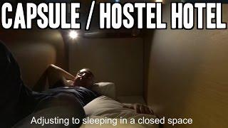 Sleeping In Capsule Hotel. Tokyo, Japan.