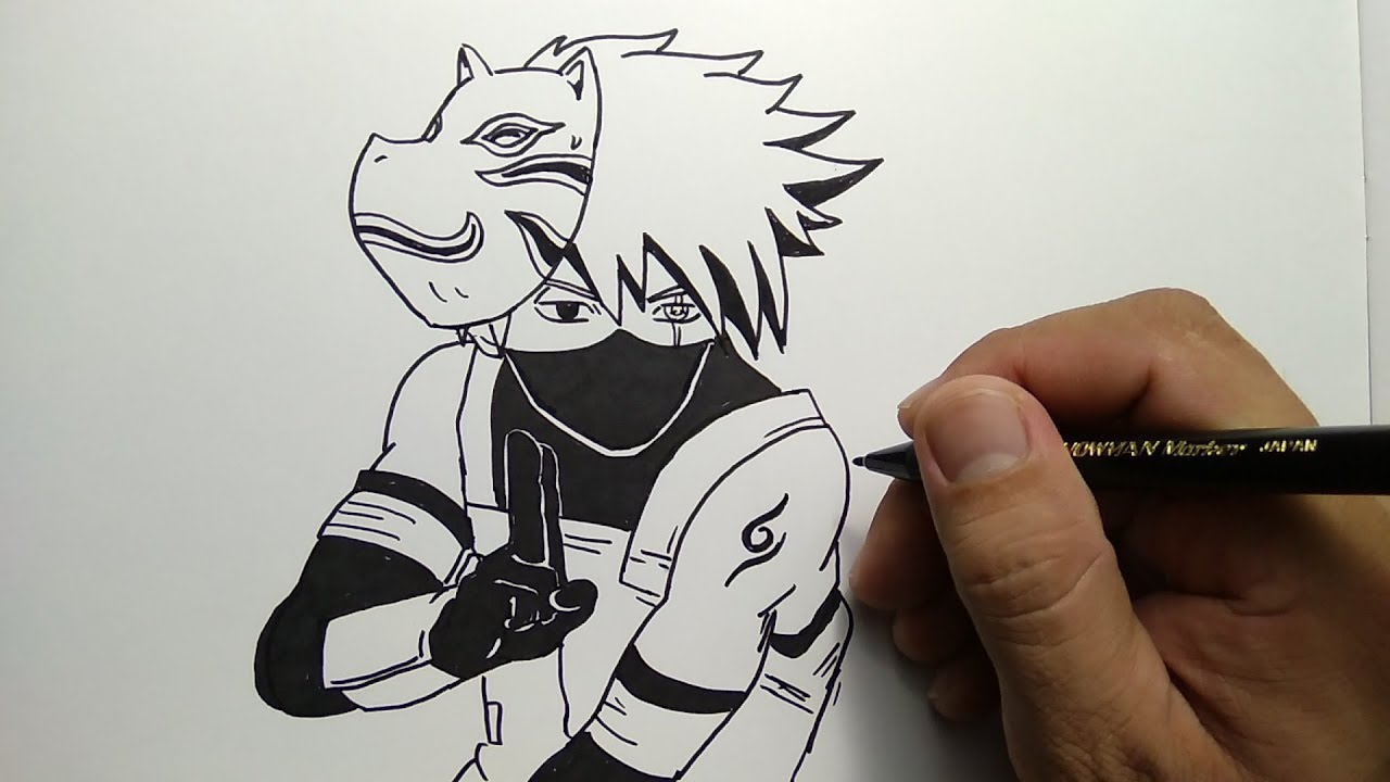 Cara menggambar kakashi how to draw kakashi from naruto
