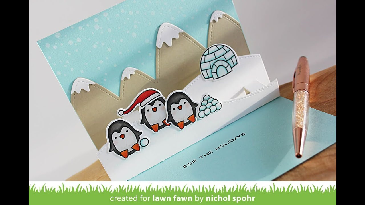 Lawn Fawn Snow Cool Interactive Pop Up Card YouTube