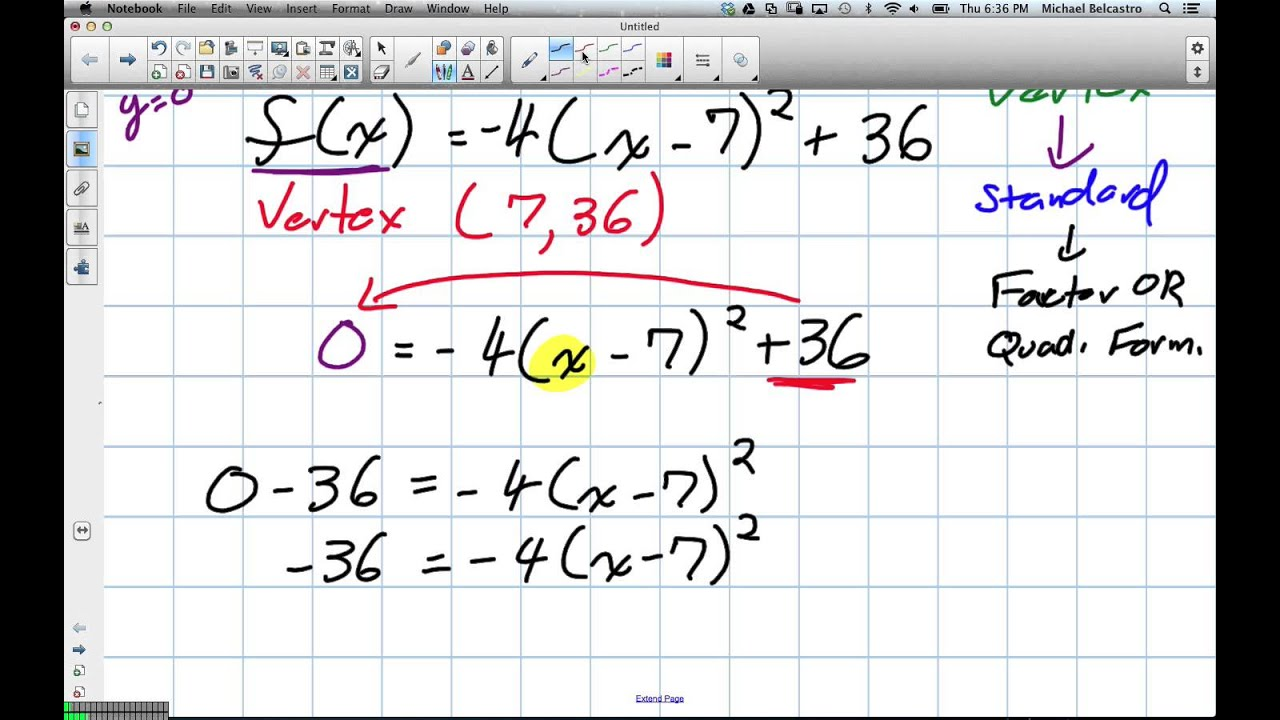Solving for x-intercepts using Vertex Form (Grade 11 mixed Lesson ...