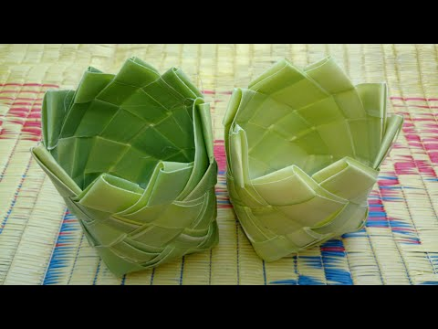 How To Make Small Basket With Palm Tree Leaves Youtube