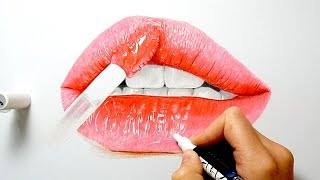 How to draw realistic glossy lips with copic markers and colored pencils | Emmy Kalia