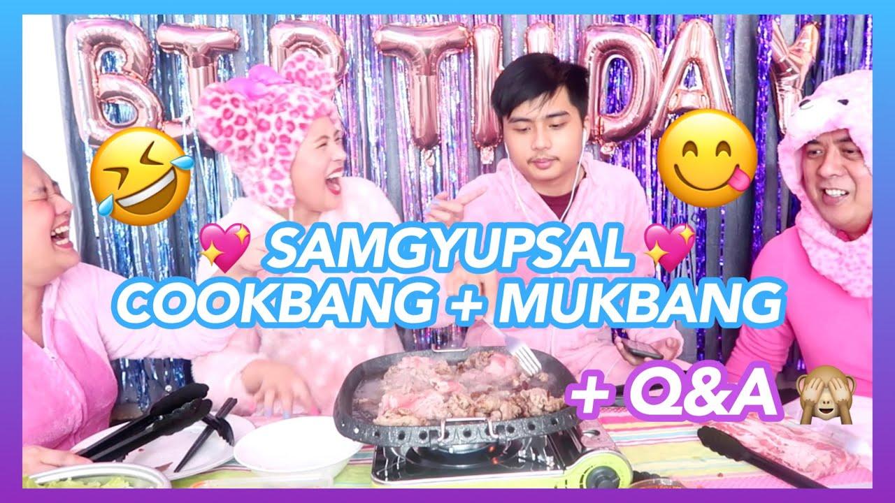 SAMGYUPSAL COOKBANG + MUKBANG with Mommy Myra, Daddy Hi, and my brother (HAPPY BIRTHDAY TO ME!! ✨💖)
