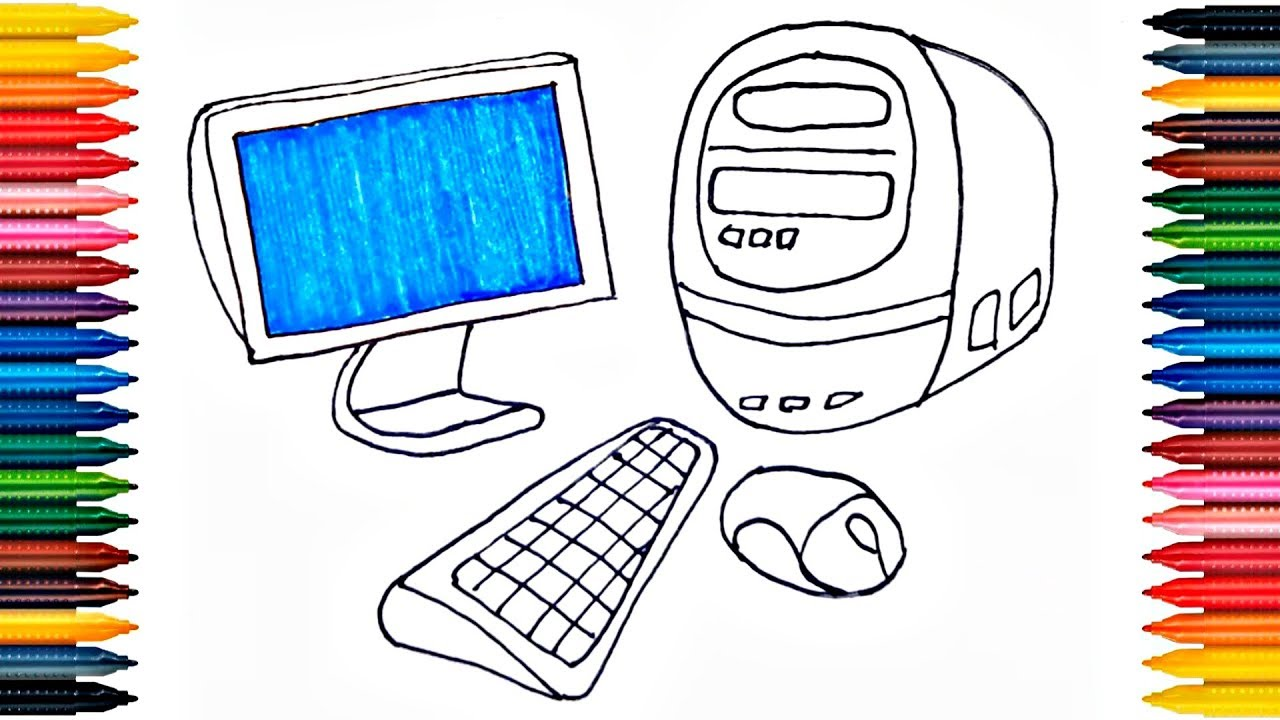 Desktop Coloring Pages How To Paint Computer Drawing Computer ...