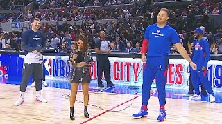 Luka Doncic Gives Blake Griffin No Chance In Mexico Introduction! Mavericks vs Pistons Video