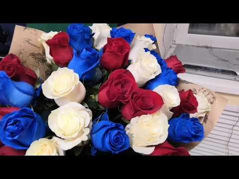 33 розы. Синяя роза. Красная роза. Белая роза. Трехцветный букет.
