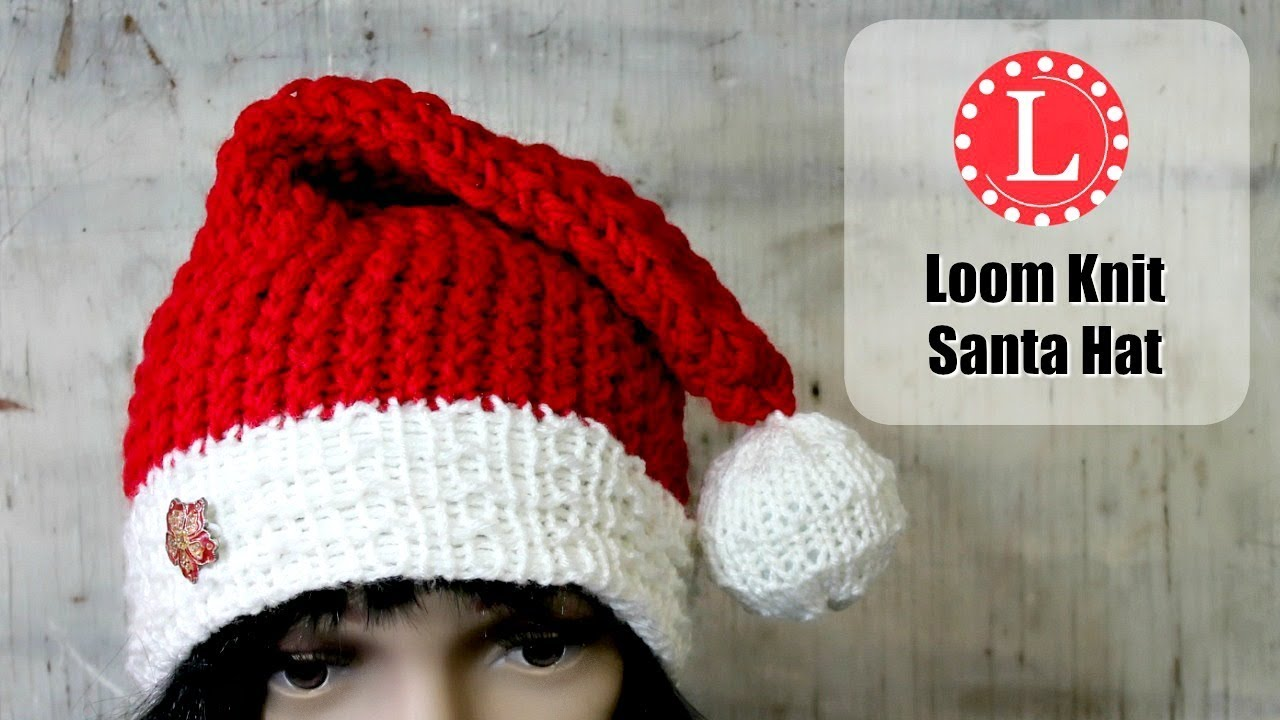Loom knitting hat on a round loom christmas holiday santa hats loom knitting hat on a round loom christmas holiday santa hats pattern elf hat by loomahat bankloansurffo Images