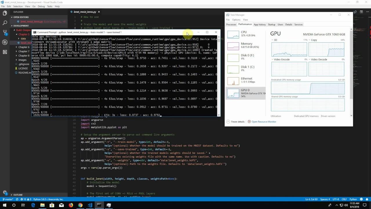 LeNet MNIST on Keras with TensorFlow running on NVIDIA GTX 1060 GPU