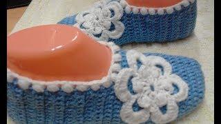 СЛЕДКИ КРЮЧКОМ/ САМЫЕ ЛЕГКИЕ/МАСТЕР КЛАСС/slippers crocheted