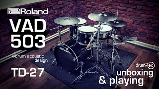 Roland VAD 503 V-Drums Acoustic Design electronic drums unboxing & playing