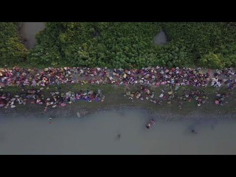 Raw: Drone Video Shows Rohingya Fleeing Myanmar
