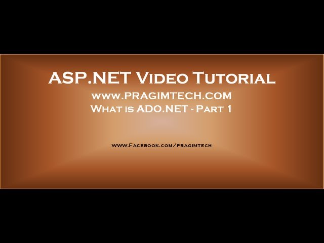 What Is Ado Net Part 1 Youtube