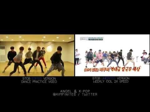 (Want Some Good Laugh?) BTOB - WOW DANCE PRACTICE VS. WEEKLY IDOL 2X SPEED VER