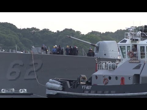 DDG-62 USS FITZGERALD DOCKS INTO YOKOSUKA JAPAN 6/17/2017
