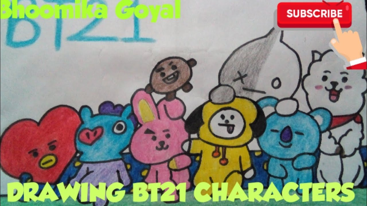 DRAWING BT21 MEMBERS VAN, TATA, RJ, CHIMMY, COOKY, SHOOKY, KOYA   BTS - YouTube