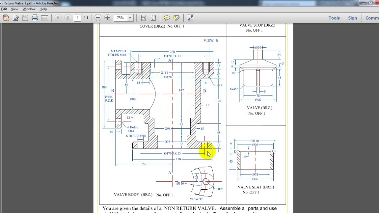 Drawing & Assembly Sheet ( Non Return Valve Angle Type ) AutoCAD By Eng  Amir El Said