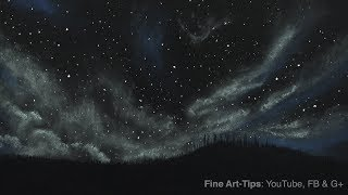 How to Draw a Starry/Cloudy Night With Soft Pastels (Chalk) - Narrated