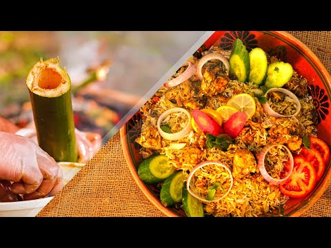 Bamboo Chicken Biryani made in Bamboo Forest | Village Food Life