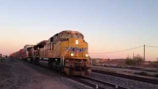 UNION PACIFIC Double header double stack with locos #8754 and 5711 head towards Los Angeles basin