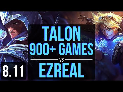 TALON vs EZREAL (MID) ~ 900+ games, Legendary, KDA 8/0/0 ~ Korea Diamond ~ Patch 8.11