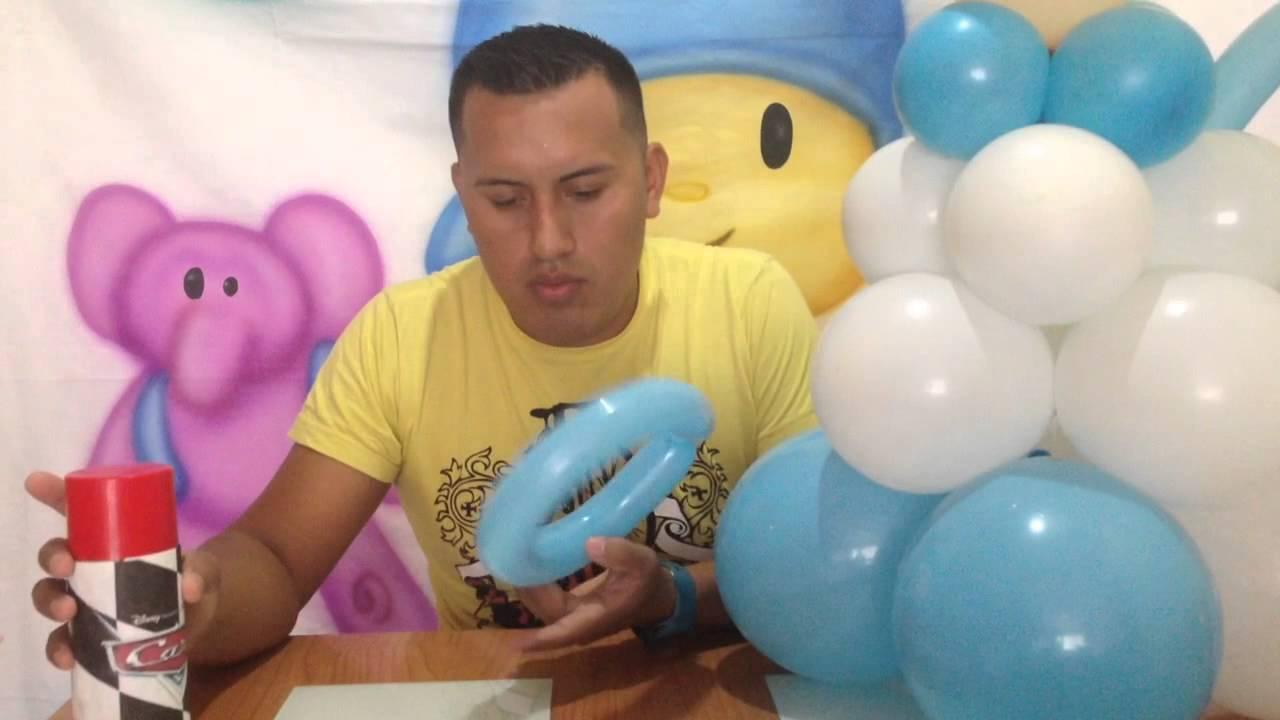 Angelito con globos para bautizo , decoración con globos , SP DECORACIONES