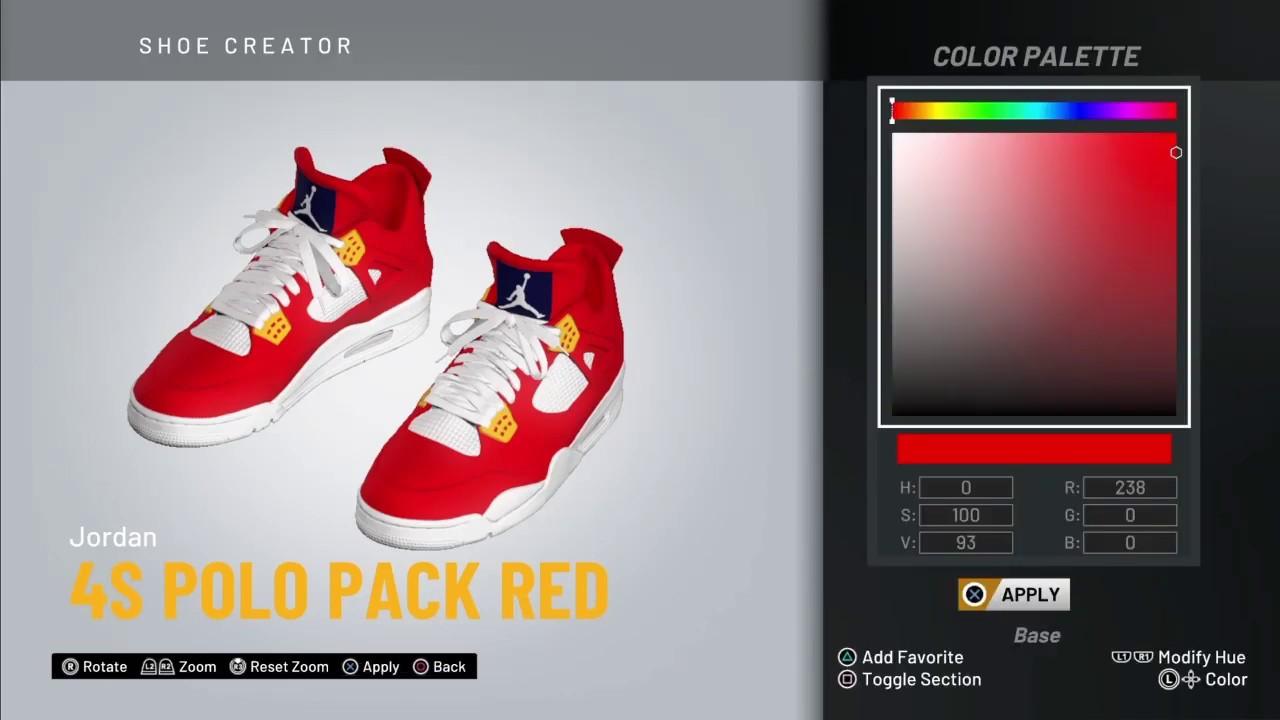 """NBA 2K20 Shoe Creator - Jordan 4 """"Polo"""