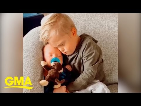 This Toddler Comforting His Baby Brother Is Too Cute | GMA Digital