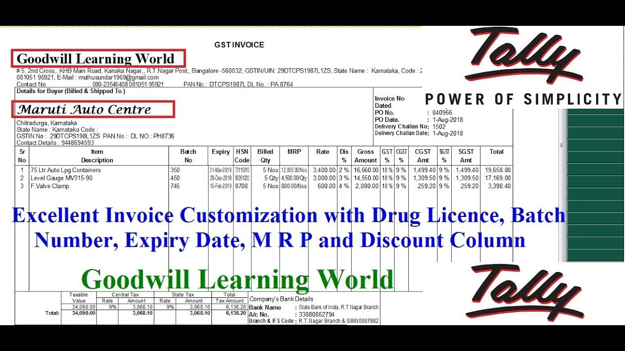 amazing invoice customization in tally erp 9 with drug
