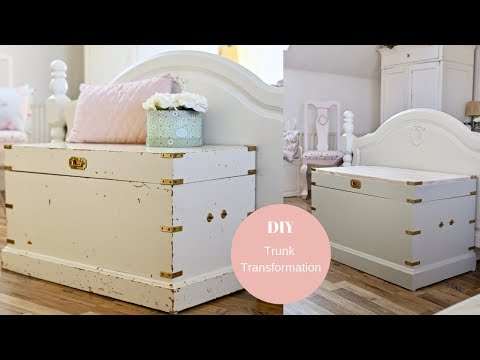 DIY trunk transformation, Stripping gloss paint and whitewashing furniture