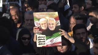 Soleimani assassination Mourners floodresred the streets as body returns to Iran   BBC News 1