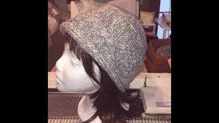 ニット帽 (hand knitting speed up by machine knitting: cap)