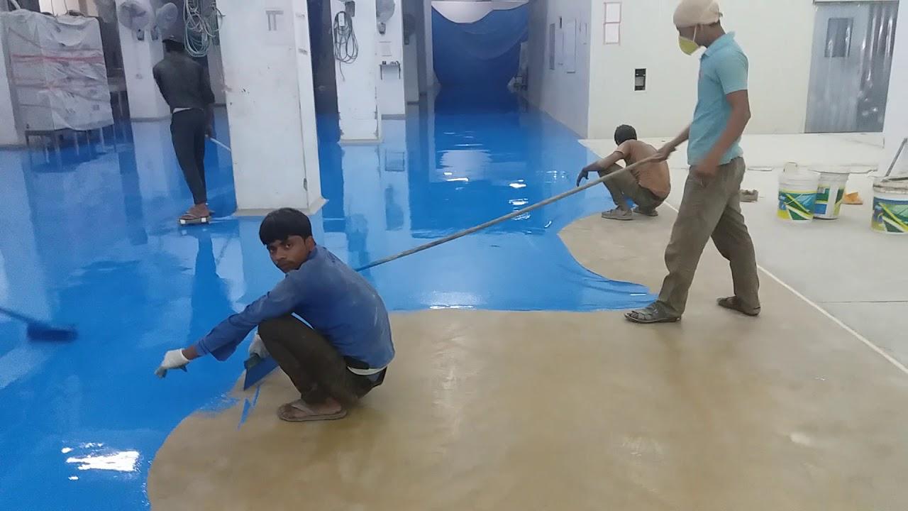 Rashid epoxy flooring system in dukes company in Assam India - YouTube