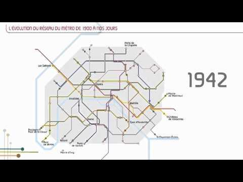 RATP métro Paris : Evolution du réseau de 1900 à 2011
