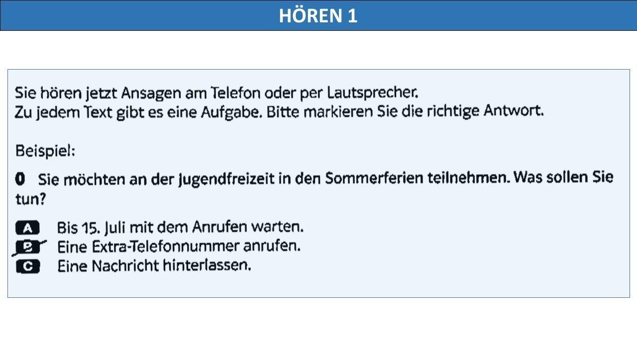 B1 Hören Telc B1 Hören Prüfung Hörverstehen Test Mit Lösungen