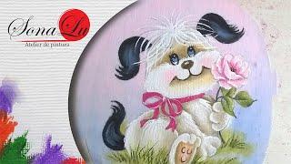 Cachorrinho com Rosa por Sonalupinturas
