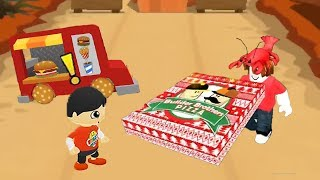 Tag with Ryan - 🍔Food Truck VS Roblox Wok at a Pizza Place 🍕- Pizza Delivery