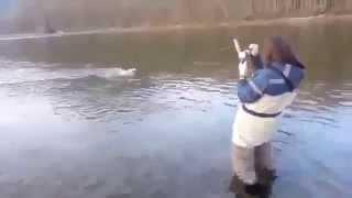 Девушка ловит рыбу - Вот это я понимаю рыбалка!!