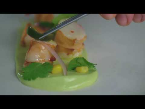 Pickled jalapeños, prawn ceviche and avocado purée by Sally Abé