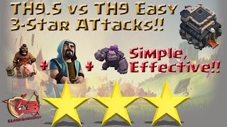 Crazy TH9.5 (TH9) War Attack? Golems + Wiz w/ Tons of Hogs = Powerful 3-Star Strategy Clash of Clans
