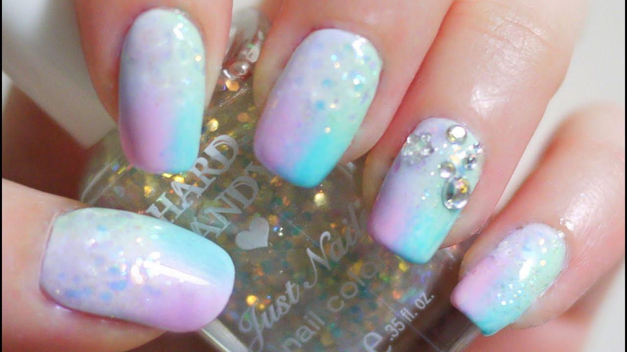Glitter Pastel Gradient Nails - YouTube