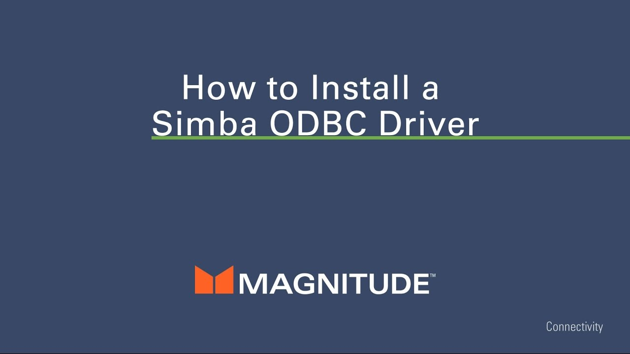 How to Install an ODBC Driver