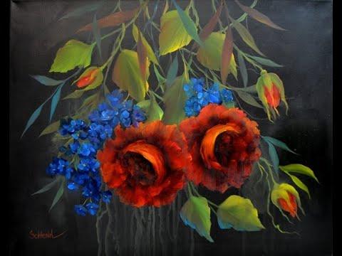 Как нарисовать розу. Живопись маслом или акрилом, как рисовать цветы. How to paint flowers