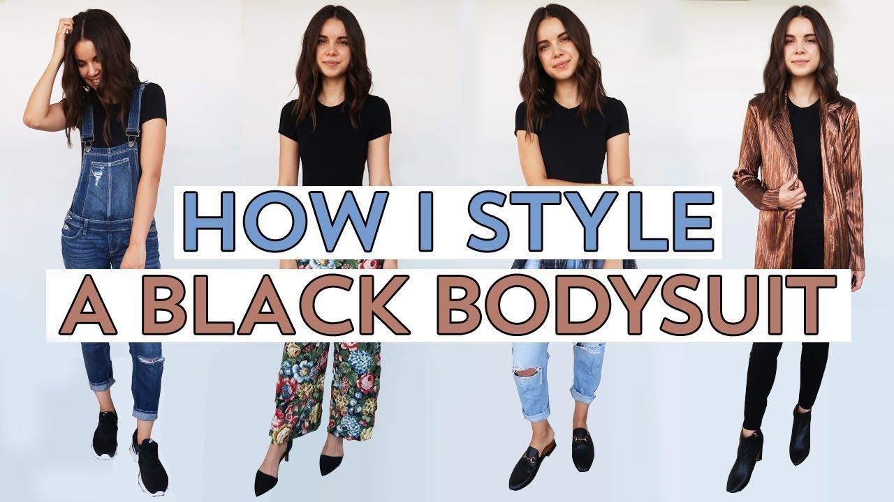 1f830582f5a0ce 4 Ways to Style a Black Bodysuit | Ingrid Nilsen - YouTube