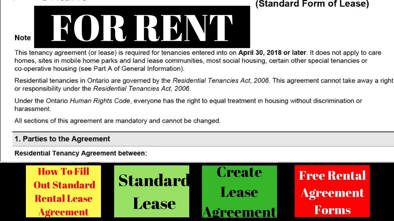 How To Fill Out Standard Rental Lease Agreement Standard Lease Create Lease Agreement For Rent